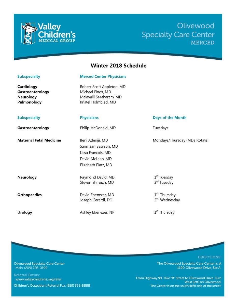 Olivewood Specialty Care Center Schedule, Winter 2018